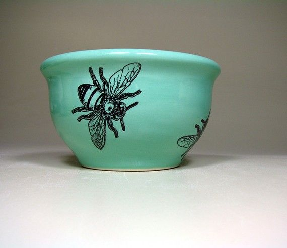 small bowl bee blue green  Made to Order / Pick by CircaCeramics, $40.00