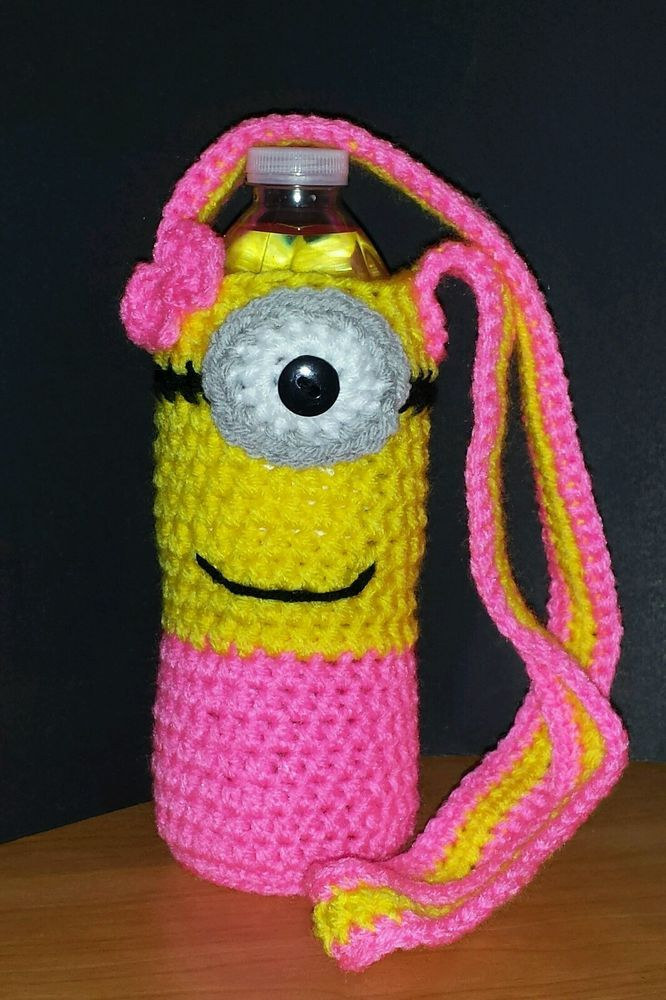 New Handmade Crochet Female Minion Water Bottle Cozy Sleeve Despicable Me Gift in Home & Garden, Food & Beverages, Coffee   eBay