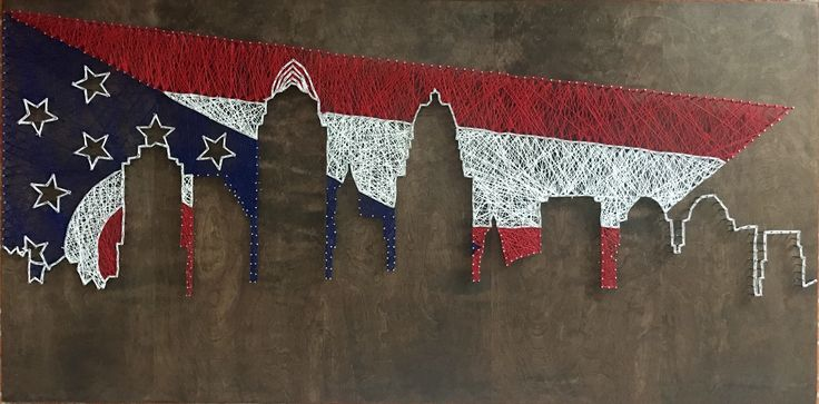 They say to start small when trying new projects, I didn't do that. Here's me 4 ft x 2 ft Cincinnati skyline and Ohio Flag string art!