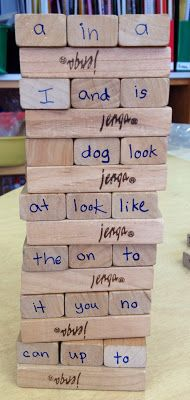 This and other sight word activities from this site could be adapted for teaching Spanish. Tape words onto the ends of Jenga blocks; students must translate the word before pushing out its block.
