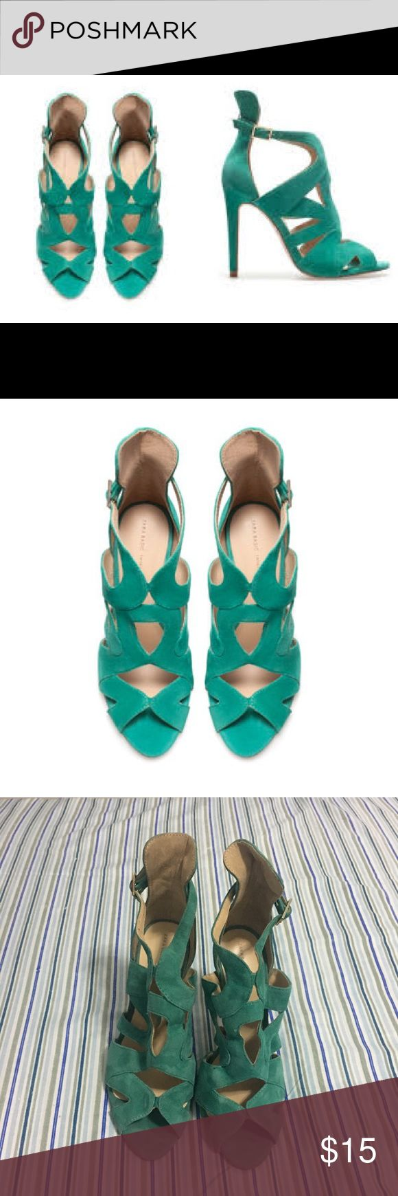 Zara Teal Caged Sandal Caged teal sandal, 9/10 condition, worn twice Zara Shoes Sandals