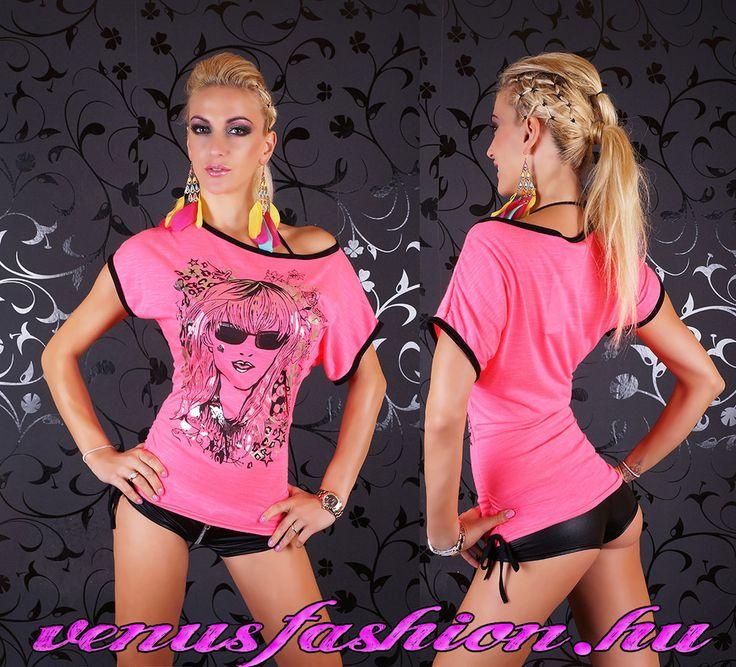 Pink arc mintás női top felső - Venus fashion női ruha webáruház