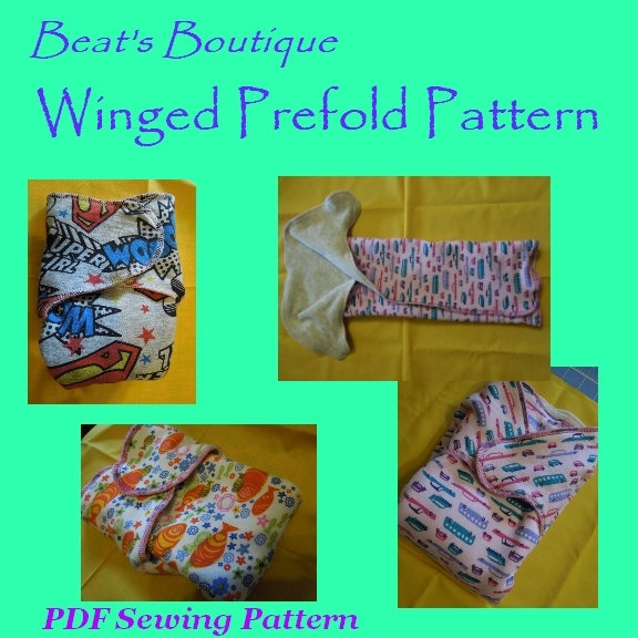 Winged / Tabbed Prefold Cloth Diaper PDF Sewing Pattern SPECIAL LIMITED Time Introductory Price. $4.95, via Etsy.