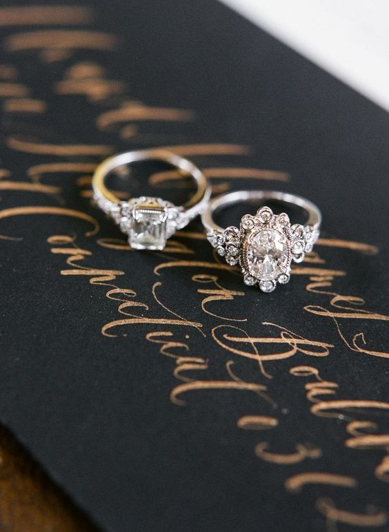 diamond floral engagement rings / http://www.deerpearlflowers.com/floral-inspired-engagement-rings/