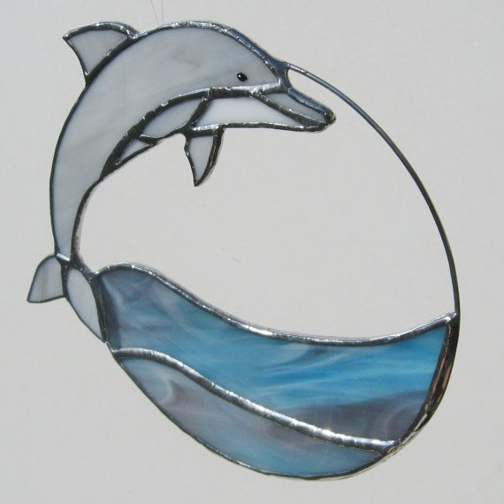 Dolphin Stained Glass and Wire Circle Suncatcher by FiveSparrows,