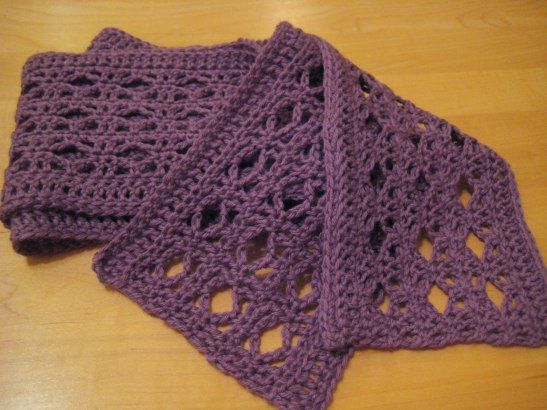 Free Scarf Pattern - crochet (a few of them sewn together would make a nice throw)