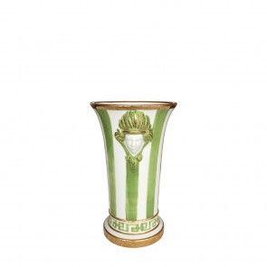 Vaso piccolo in ceramica a righe verdi e profili oro Este Ceramiche