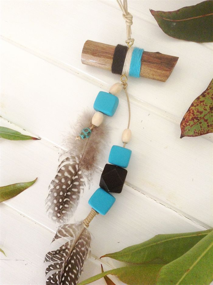 WALL HANGING boho wood branch with yarn, feathers turquoise black beads