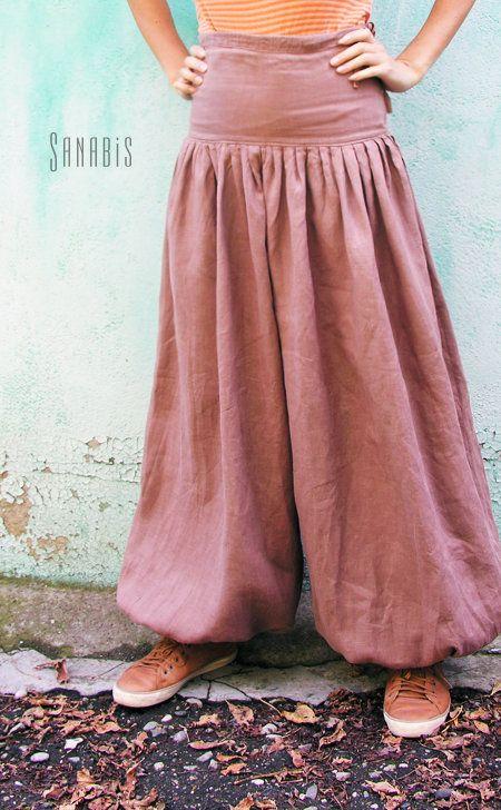 Купить Льняные брюки шаровары - коричневый, однотонный, брюки, брюки женские, шаровары, брюки-шарованы