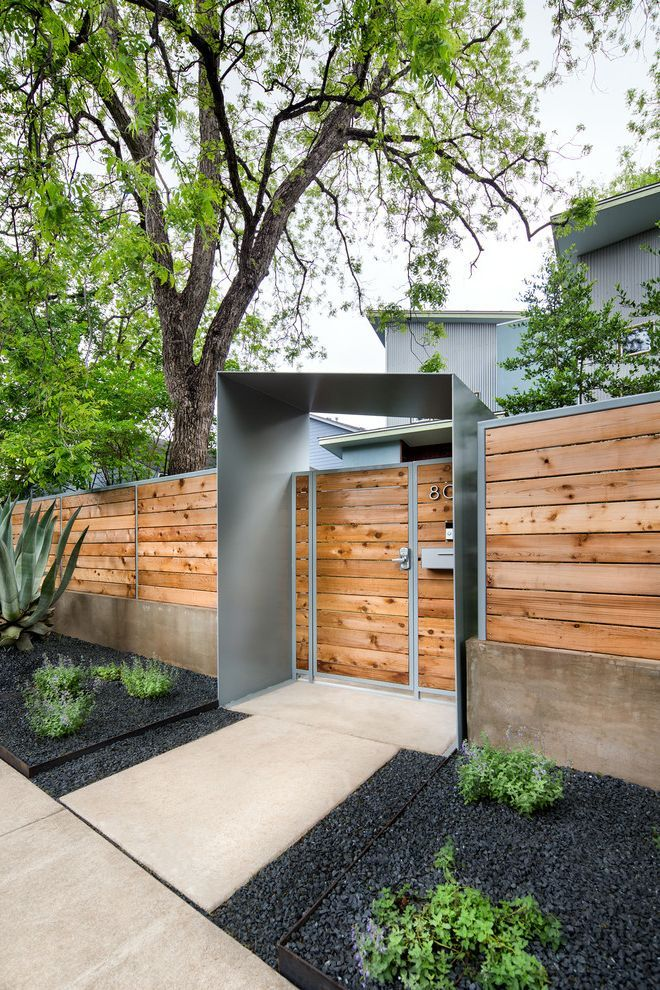 Modern Metal Gate Designs With Contemporary Landscape