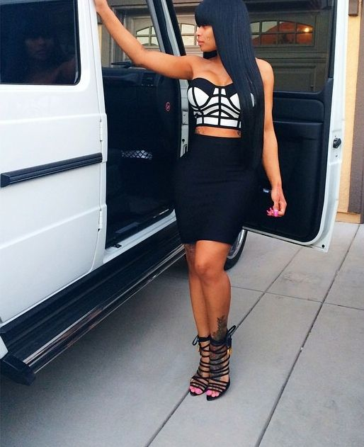 Party Glam Fashion Outfit Celebrity Blac Chyna Bralet Bodycon Skirt Strappy High Heel Sandals Baddie Dope Swag Style Trend