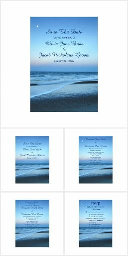 Blue Beach Sunset Wedding Collection Personalize this beautiful custom wedding invitation set. These products feature landscape nature photography of a soft blue dusk Tybee Island Beach sunset. Great for a beach, outdoors, spring, summer or destination wedding or for any occasion - wedding, anniversary, bridal shower, rehearsal dinner, engagement party or housewarming.