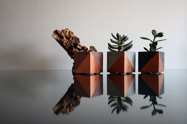 An ideal decorative accessory for your home.  Handmade mini concrete planter gray,red or black with bronze triangles. Perfect for succulent and cactus plants. This beautiful planter with bronze...
