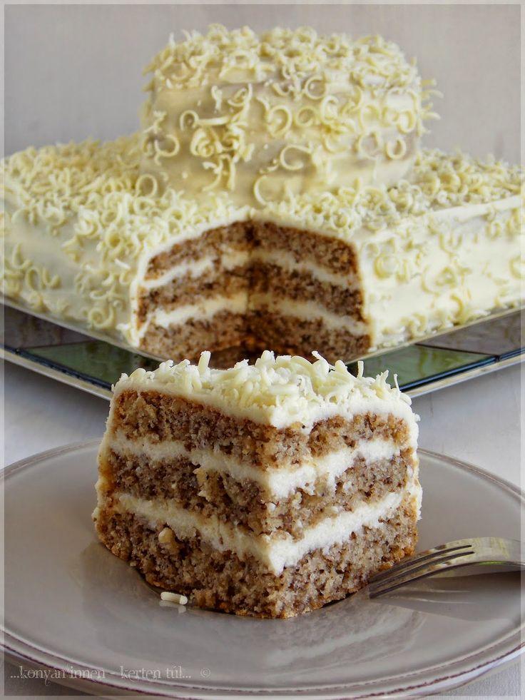 ...konyhán innen - kerten túl...: Kávés-mandulás torta fehér csokoládé krémmel