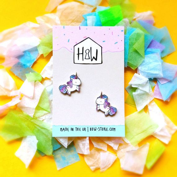 Happy Unicorn Stud Earrings: illustrated glittery animal charm earrings for children & best friends, made from acrylic.