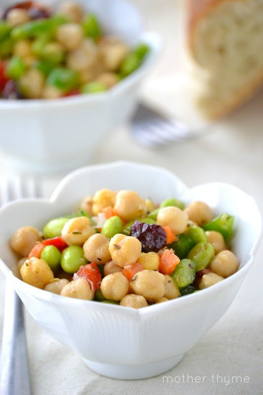 Truly one of my favorite salads. Chickpea and Edamame Salad. I use tomatoes instead of dried cranberries but dried cranberries looks interesting too!