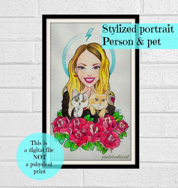 Stylized Portrait-Person & pet portrait Couple by paolabeatrixart