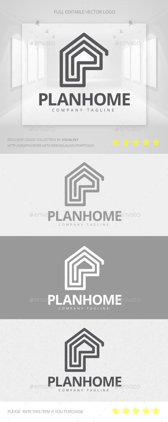 Plan Home Logo #transparent #png #deluxe home #mansion • Available here → https://graphicriver.net/item/plan-home-logo/11454030?ref=pxcr