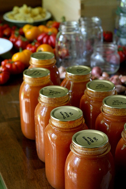 I've made 2 batches of tomato soup so far, my favorite thing to can because it's my favorite thing to eat. My table is littered with canning supplies, empty jars, veg, lids, rings and even filled jars waiting to be moved to the pantry in the basement Delicious Tomato Soup Recipes at http://tomatosouprecipe.healthandfitnessjournals.com