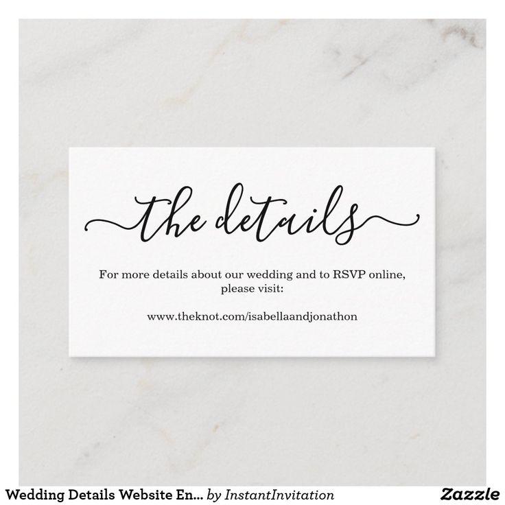 Wedding Details Website Enclosure Card Simple Zazzle Com Wedding Invitation Details Card Wedding Website Wording Rsvp Wedding Cards
