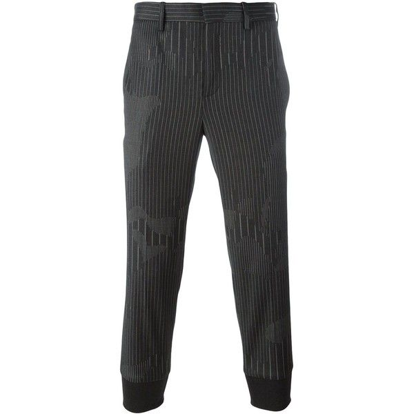 Neil Barrett tapered tailored trousers ($289) ❤ liked on Polyvore featuring men's fashion, men's clothing, men's pants, men's casual pants, grey, mens cropped pants, mens camouflage pants, mens elastic waistband pants, mens grey dress pants and mens camo pants