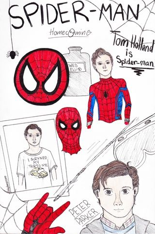 I watched Spider-Man Homecoming a couple weeks ago and loved it, so here is a sketch I did for it. Comment what you think.  #peterparker #spiderman #homecoming #art #drawing #sketch #web #spider #lineart #colour #fanart