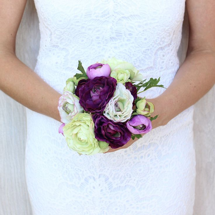 """9"""" Small Fake Ranunculus Bouquet in Purple Green                                                                                                                                                                                 More"""