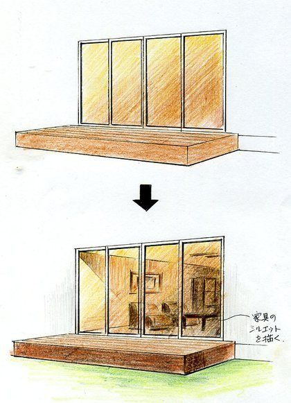 窓の描き方(手描きパースの描き方) |手描きパースと富士山の絵