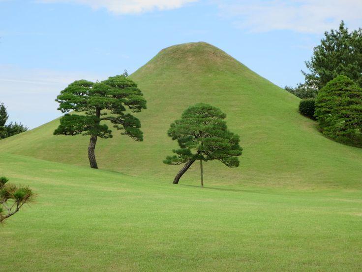 The Suizenji Garden in Kumamoto on Kyushu Island, Japan, was created by Prince Tadatoshi Hosokawa in 1636. The garden features a miniature Mount Fuji.