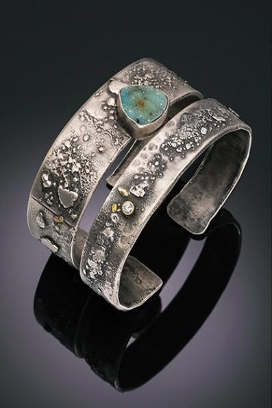Tai Vautier Jewelry |  Rustic fused sterling silver bracelets with 22kt flecks,  diamond and chalcedony druzy: $495, $695