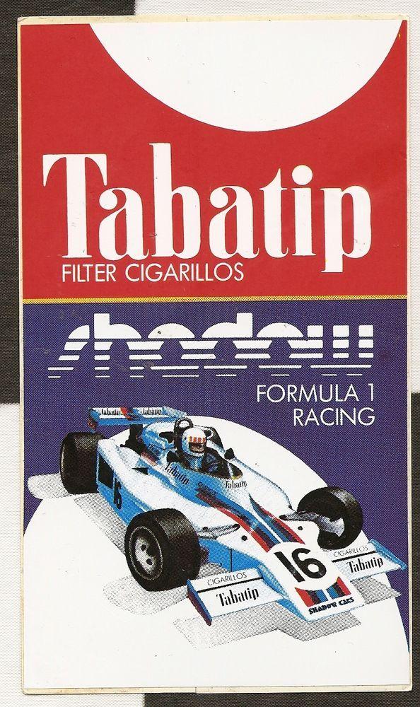 Tabatip cigars shadow ford f1 team dn8 1977 original period sticker autocollant