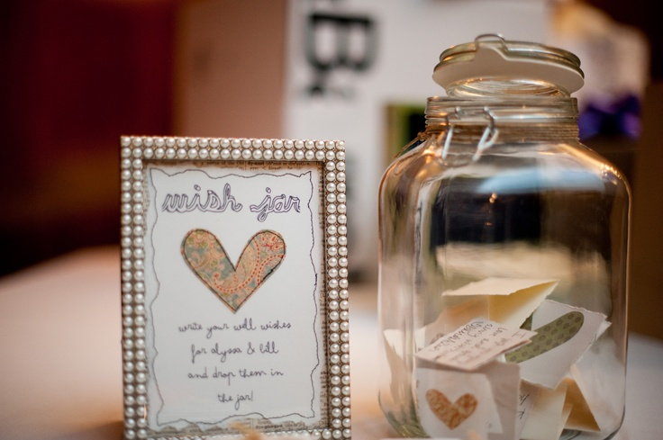 """A """"wish jar"""" that the couple made for their reception! Super good idea! Photo by Troy #WeddingPhotographyMN"""
