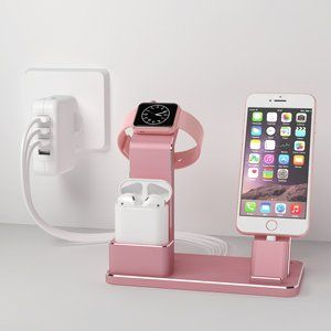 Amazon.com: YoFeW Apple Watch Stand Aluminum 4 in 1 Apple Watch Charger Dock Accessories for AirPods Charging Docks Stand for Apple Watch Series 3/ 2/…