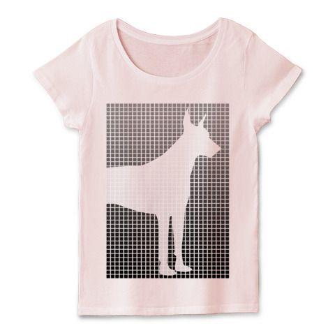 アーミードーベルマンのグラーデーションtシャツ | デザインTシャツ通販 T-SHIRTS TRINITY(Tシャツトリニティ)ドーベルマンのかわいいタイル状のでザインです。なんかどことなくフラットなデザインの臭いがするかわいいTシャツ #ドーベルマン #Tシャツ