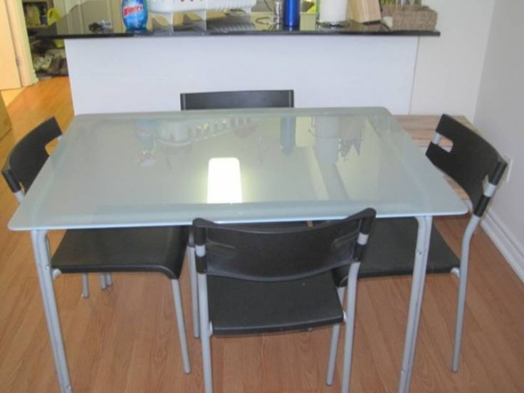 Glass Table IKEA LAVER Frosted Top Dining And 4 Chairs