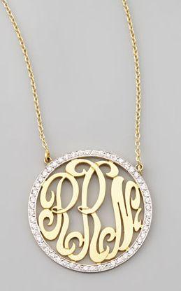 Cutout-Monogram Medium Pave White Diamond Necklace