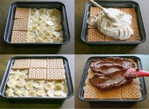 Fantastický banánový nepečený dezert z máslových sušenek