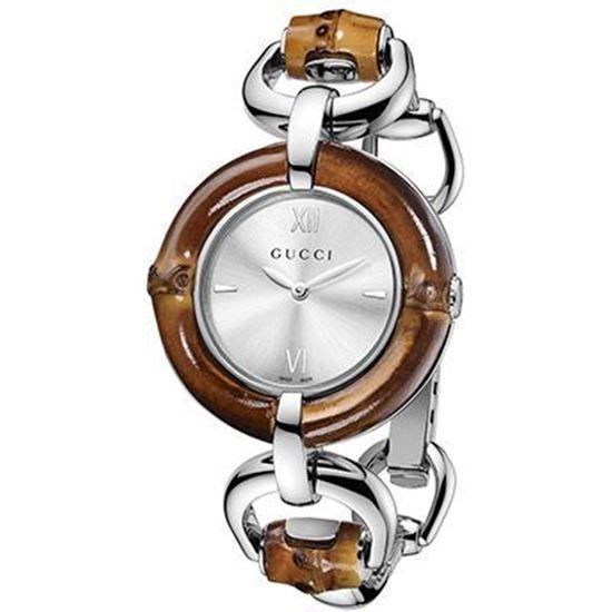 Gucci BAMBOO YA132403 - Orologio da polso da donna, cinturino in acciaio inox colore argento