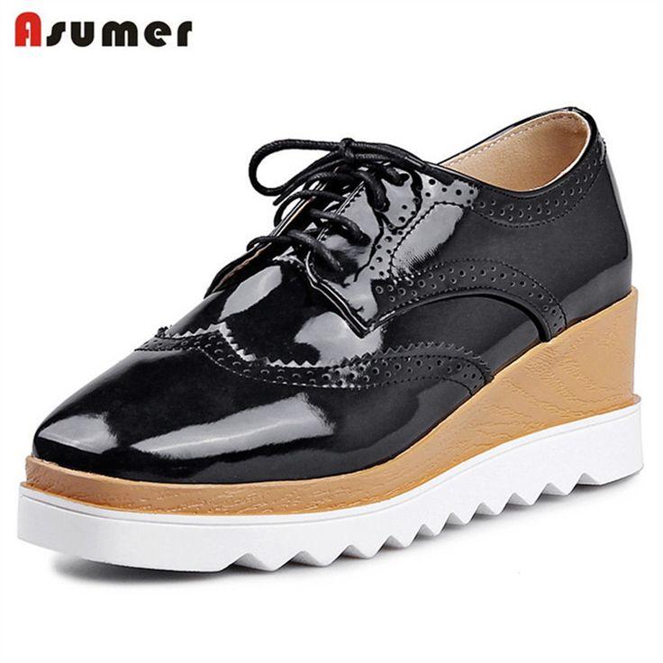 Asumer 2017 Hot sale single shoes four seasons lace-up wedges shoes 5cm square toe PU patent leather women pumps fashion  #Affiliate