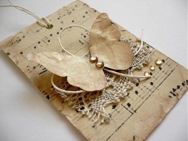 DIY tarjeta de felicitación ideas de música de la hoja ideas DIY tarjetas de felicitación materiales naturales