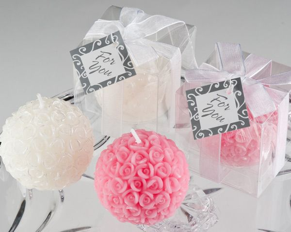 rose ball candle favours in gift box