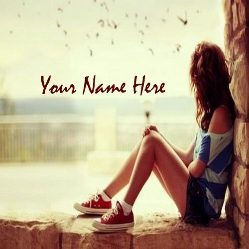 Write Your Name On Sad Alone Girl Waiting Someone Pic ...