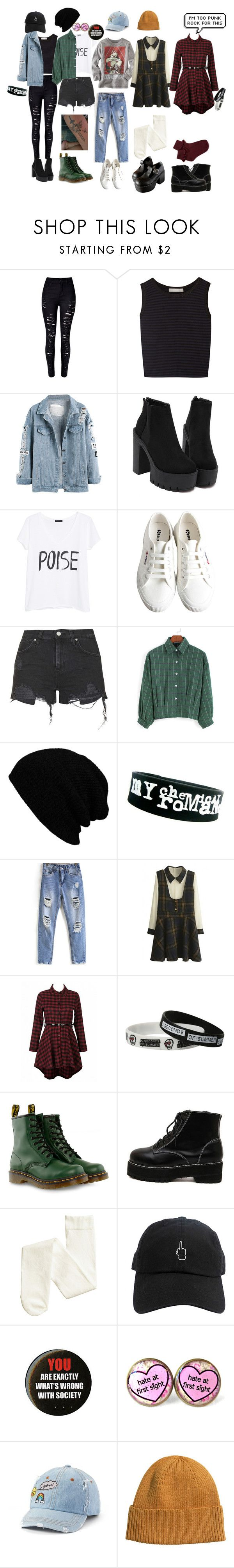 """Different types of me"" by sirine-hmd ❤ liked on Polyvore featuring Kain, MANGO, Old Navy, Superga, Topshop, KBETHOS, WithChic, Hot Topic, Dr. Martens and SO"