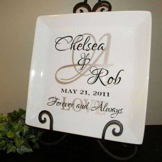 "Personalized Wedding Gift - couple's names and initial on 10-1/2"" square white plate"