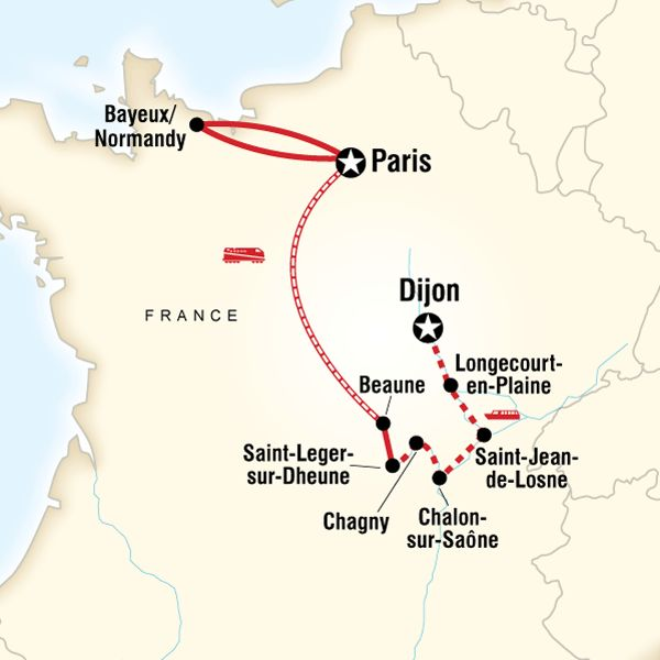 "I'm seeig the word ""wine"" a lot -Map of the route for Explore Normandy & Burgundy"