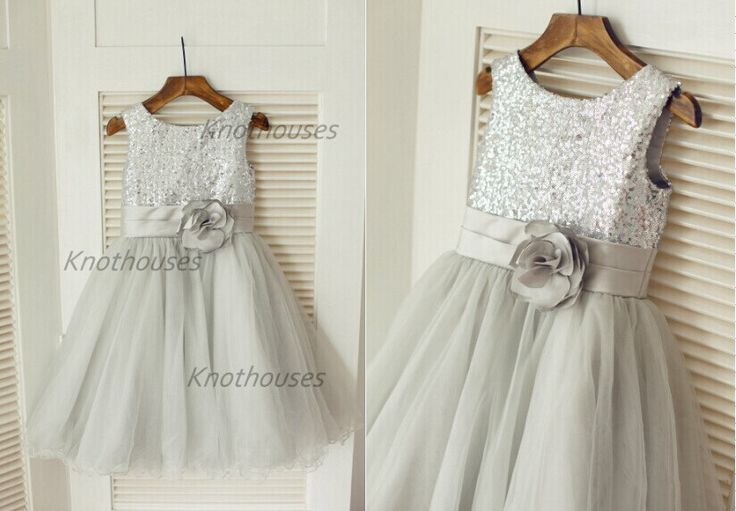Silver Sequin Tulle Flower Girl Dress Children Toddler Party Dress for Wedding Junior Bridesmaid Dress by knothouses on Etsy https://www.etsy.com/listing/207475122/silver-sequin-tulle-flower-girl-dress