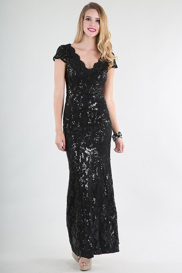 SPECIAL DEAL New V Neck Lace Sequin Evening Gown Black, Cap Sleeves  #NikibikiMidnight