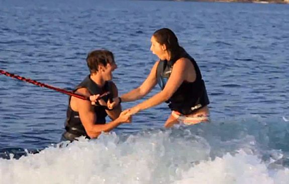 Tallying a million views in four days, Matthew Gencarella's tandem wakeboard marriage proposal video is one of the coolest of all time. While zipping across a lake on a tandem wakeboard, the former gymnast demonstrated tremendous agility — and romantic creativity — by lowering himself to one knee and proposing to his girlfriend. Click link for viral video. Please LIKE and SHARE.