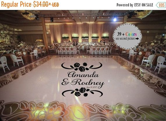 Huge carnationtheme dance floor decal wedding day fancy calligraphy font dance floor personalized names vinyl lettering 39 colors