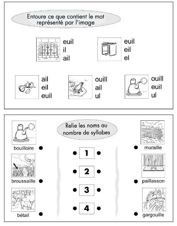 Etude de sons : ail, euil et ouill | Activités
